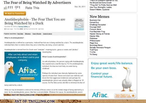 ads,Aflac,dog mask,duck,phobia,scary