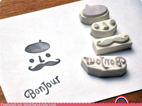 French Mustache Rubber Stamp Set