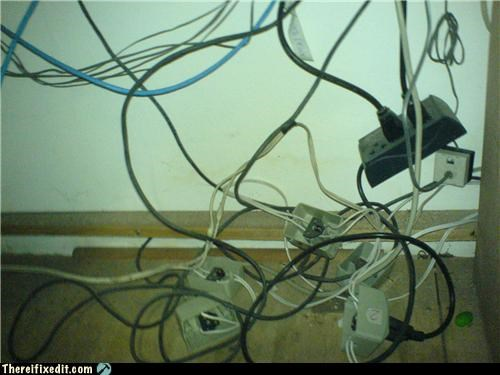 cables,electrical fire,messy,safety first