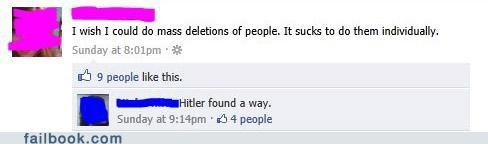dark humor,delete friends,hitler,lolocaust,witty reply