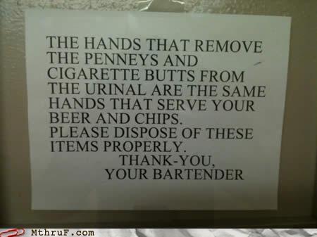 bar,bartender,bathroom,cigarette butts,sign,urinal
