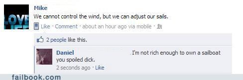 philosophical status,sailing,witty reply