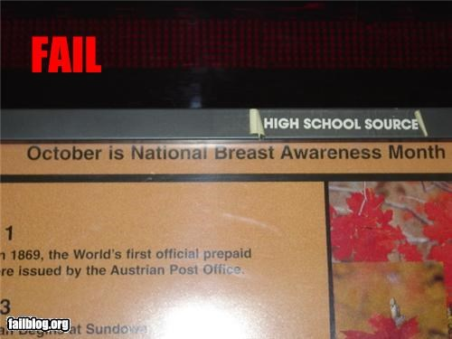 accidentally the whole,Breast Cancer,failboat,g rated,october,typo