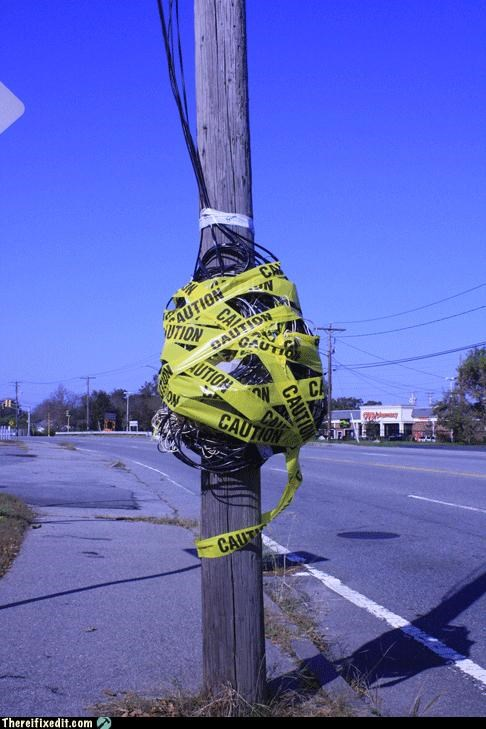 caution,Professional At Work,tax dollars at work,utility pole