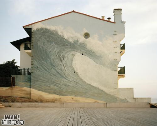 art,beach,mural,ocean,painting,Street Art,wall art,wave