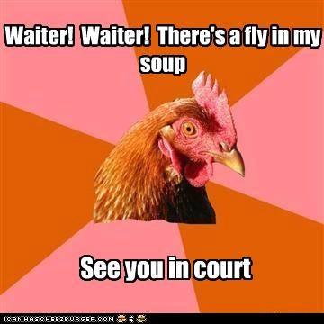 anti joke chicken,court,fly,jokes,lawyer,subpoena,waiter