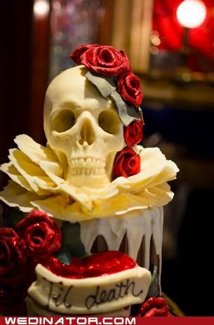 cake,cakes,funny wedding photos,skulls,wedding cake