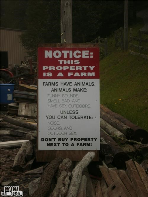 animals,clever,complaint,farm,notice,sign,warning