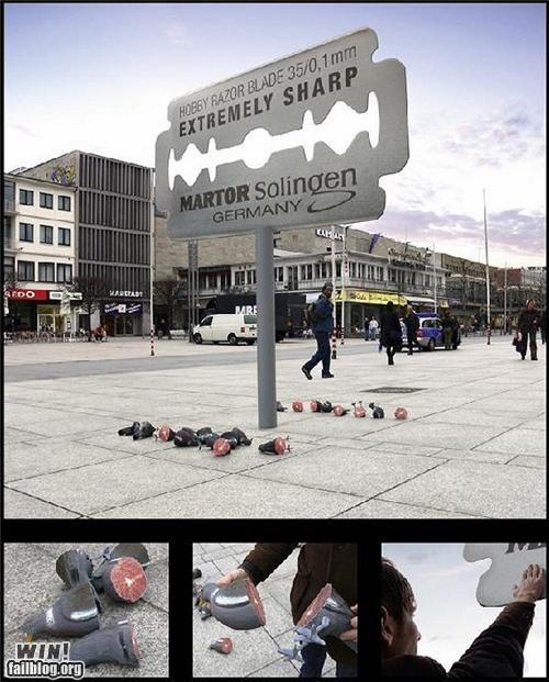 advertising,billboard,clever,design,photoshopped,razor,sharp,shopped