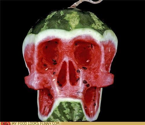 apple,eggplant,funny food photos,skulls,watermelon