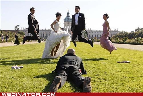 bride,funny wedding photos,groom,jump,photographer