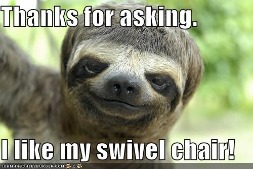 animals,i like mine,nope,sloth,swivel chair,thanks,thanks but no thanks