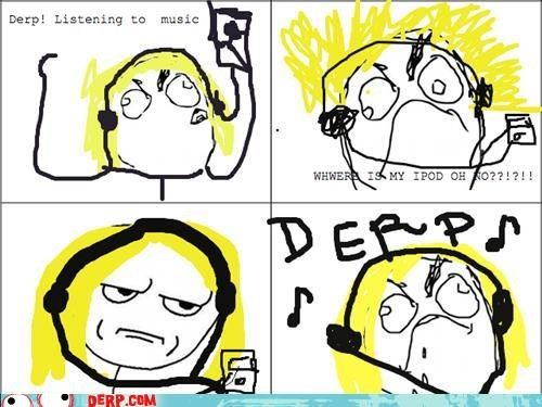 derp,drawins,ipod,listening,Music,rage comic,tag derp
