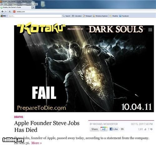 Headline Placement FAILs - RIP Steve Jobs