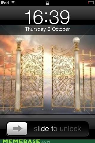 gates,heaven,iphone,Memes,october,slide,steve jobs,unlock