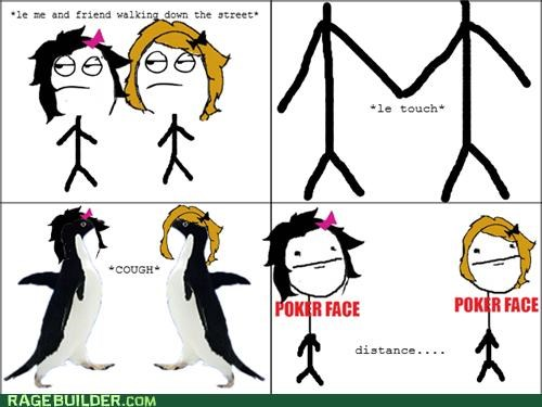 hand hold,poker face,Rage Comics,socially awkward penguin
