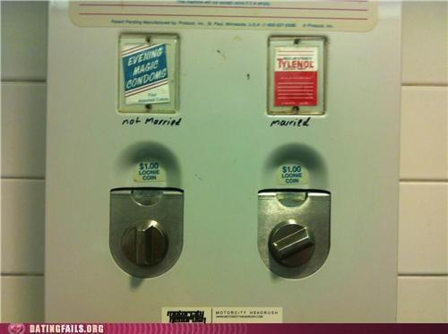 bathroom,condom,condoms,headache,marriage,tylenol,vending machine,We Are Dating