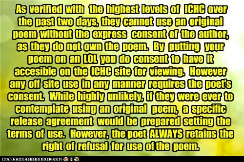 ICHC cannot use an original poem in any manner without the express consent of the author.