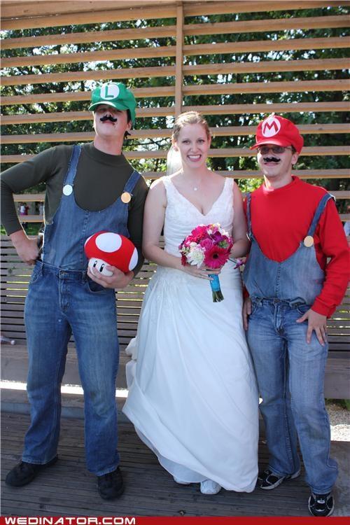 funny wedding photos,geek,super mario,video games
