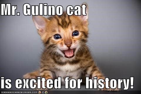 Mr. Gulino cat  is excited for history!