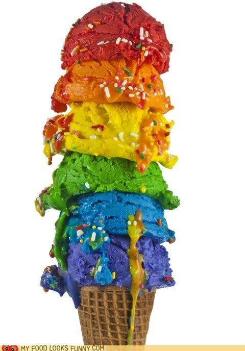 cone,ice cream,rainbow,scoops,sprinkles