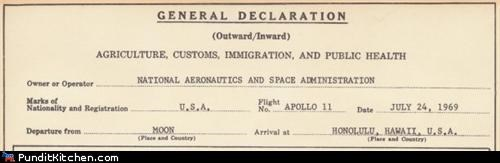 Apollo 11 Customs Declaration