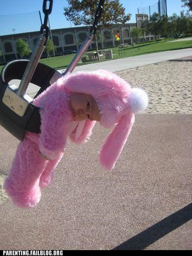 The Saddest Fluffy Pink Bunny on the Playground
