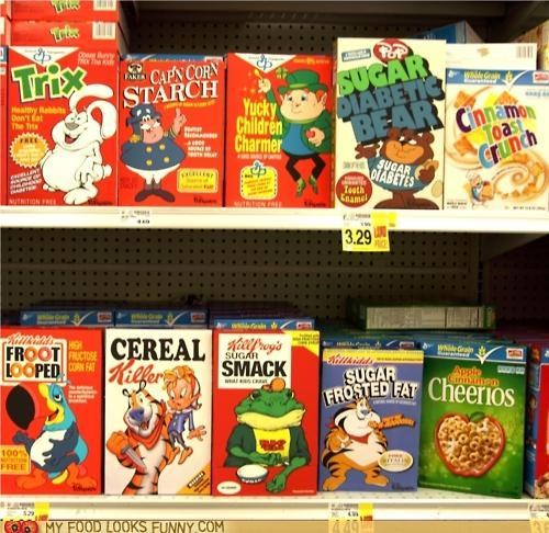 cereal,frosted flakes,funny food photos,lucky charms,trix