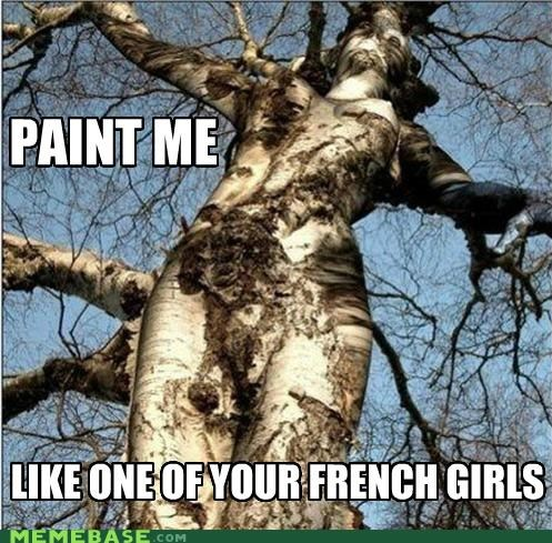 draw,one of your french girls,paint,tree,what,wood