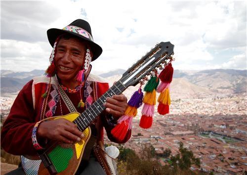 Peruvian Musician Playing a Charango, Cristo Blanco, Cusco, Peru