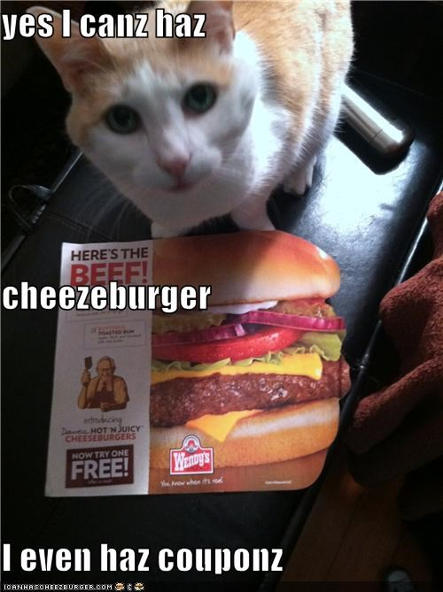 yes I canz haz cheezeburger I even haz couponz
