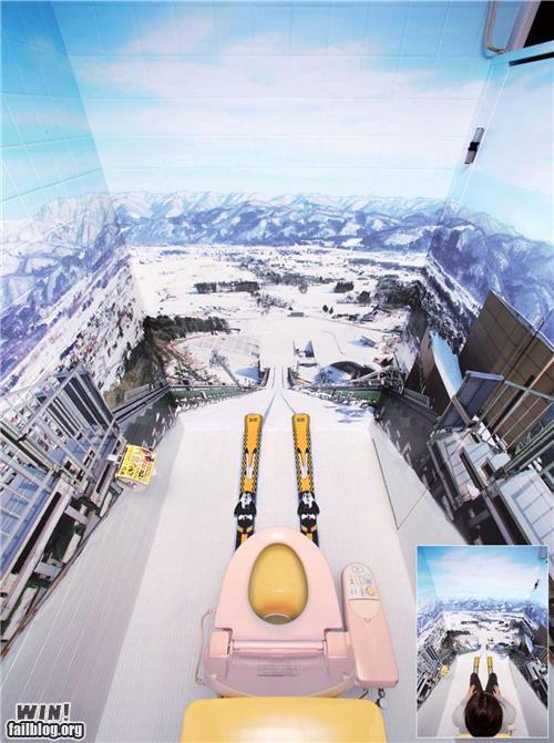 bathroom,illusion,jump,ramp,skiing,toilet