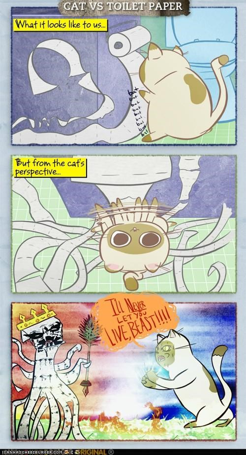 Battle,comic,comics,epic,imagination,monster,toilet paper