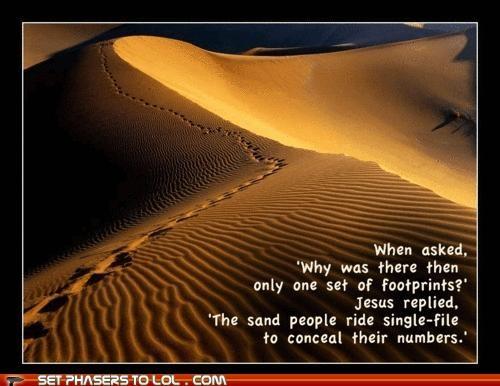 footprints,jesus,obi wan,sand,sand people,star wars