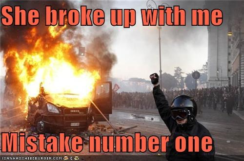 break up,car on fire,explosion,ive-made-a-horrible-mistake,mistake,nasty break up,oops,Pundit Kitchen,thats-a-bummer-man