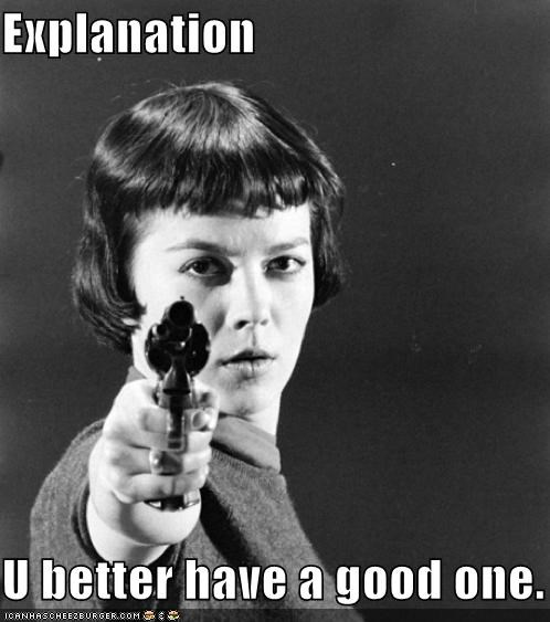 explain yourself,explanation,gun,historic lols,vintage,woman