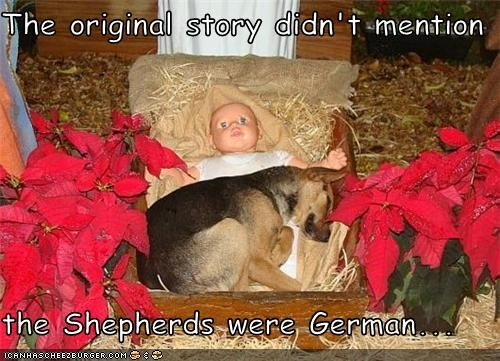 The original story didn't mention  the Shepherds were German...