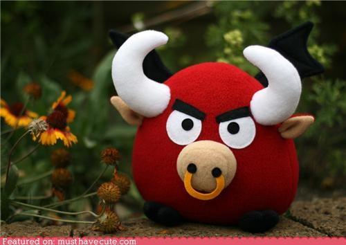 bull,craft,DIY,fleece,horns,Plush,sewing