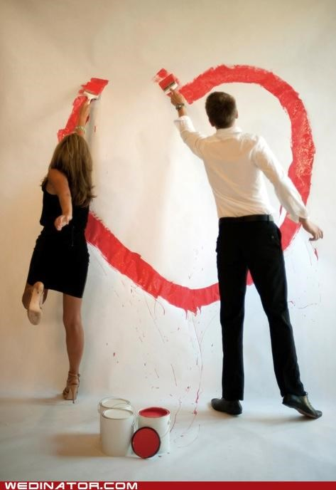 art,couple,engagement,funny wedding photos,painting