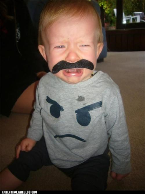 angry face,costume,crying,mustache,Parenting Fail,shirt,toddler