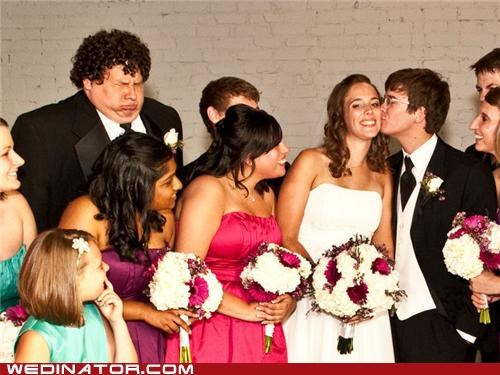 bride,funny wedding photos,groom,KISS,photobomb
