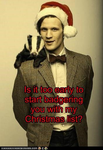 badger,christmas,doctor who,list,Matt Smith,santa hat