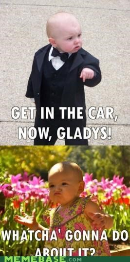 Babies,Baby Godfather,car,gladys,so cute,what