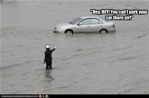 car,flood,flooding,no parking,parking,police