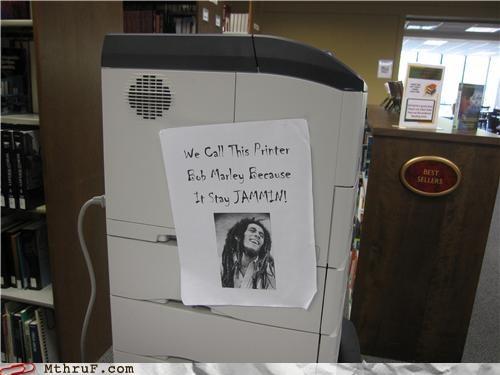 bob marley,broken,jam,Music,printer,pun,reggae