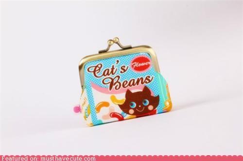 beans,cat,coin purse,pouch,purse
