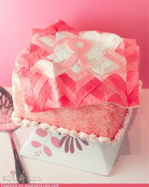 Breast Cancer,cake,cause,epicute,fondant,pink,quilt,ribbon