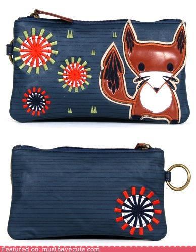 applique,fox,pouch,wallet,zipper