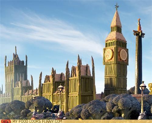 art,asparagus,big ben,lemon,London,sculpture