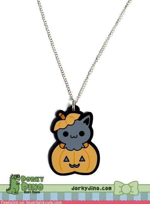 acrylic,halloween,Jewelry,kitty,necklace,pendant,pumpkins